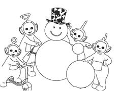 Teletubbies And Snowman Coloring Page
