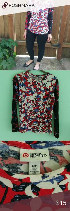 """Peter Pilotto for Target floral long sleeved tee Fitted long sleeved shirt from Peter Pilotto's Target collection in vibrant floral print with contrasting sleeves. Soft fabric, excellent used condition. Length approx 23"""" Peter Pilotto for Target Tops Tees - Long Sleeve"""