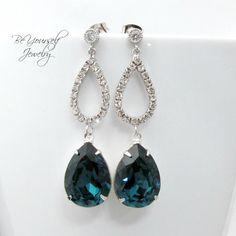 Pendientes azules de Etsy en https://www.etsy.com/es/listing/115215943/bridal-earrings-blue-earrings-cubic