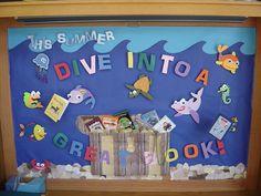 Dive Into A Great Book Ocean Bulletin Board Fish Bulletin Boards, Summer Bulletin Boards, Reading Bulletin Boards, Preschool Bulletin Boards, Bulletin Board Display, School Library Displays, Library Themes, Classroom Displays, Classroom Themes