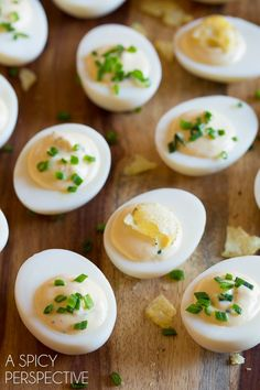 """Easy """"Sour Cream and Onion Dip"""" Deviled Egg Recipe that packed a punch of flavor. Creamy homemade sour cream and onion dip mixed into deviled eggs filling"""