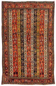 A striking Qashqai rug. Persian, circa 1860. 230 x 145 cm (90 x 57 in). www.galleryyacou.com