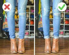 Não coloque a calça dentro da bota. Dobre a barra e deixe do lado de fora, fica muito melhor.