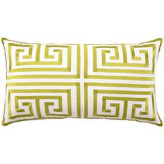 Love this Greek Key Pillow!  Trina Turk Pillow Embroidered Linen Greek Key Lime PH24TT40DC26OB