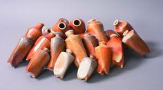 Shamai Gibsh: Bottles, D:8-14cm, H:12-20cm. Stoneware, Glaze, Soda firing.