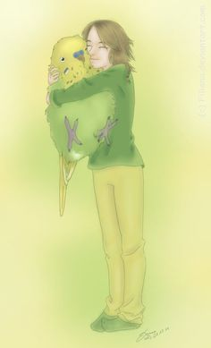 My budgie and me... by Filiana on deviantART / Aw I wish my budgie were this big so I could hug him! :)