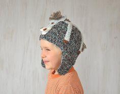 Child Kids Beanie Hat Donkey Burro Hat Winter Spring Hat Knit Crochet Hat Animal Hat Gray Warm Unique Original For Boy For Girl OOAK