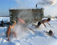 Roll in the snow during sauna.