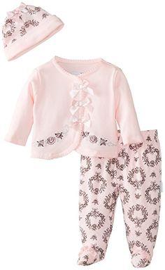 Vitamins Baby Baby-Girls Newborn Floral Damask Pack Cardigan Pant Set, Pink, 6 Months