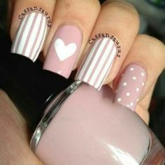 99 Stunning Diy Heart Nail Art Ideas For Valentines Day - Nails Design Heart Nail Designs, Elegant Nail Designs, Elegant Nails, Stylish Nails, Trendy Nails, Nail Art Designs, Square Nail Designs, Nails Design, Design Design