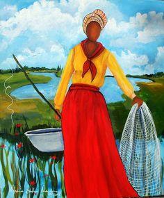 """St Isabella Island Fishing Woman""  Diane Britton Dunham"