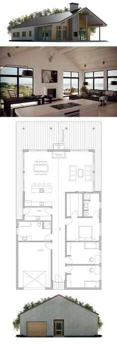 Small House Plan, Home Plans, House Plans Modern House Plans, Small House Plans, Modern House Design, House Floor Plans, Custom Home Plans, Casas Containers, Cabin Homes, House Layouts, House Front