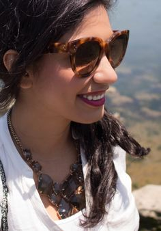 celine sunglasses and madewell statement necklace via beauty and sass