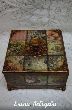 Fotografia Decoupage Furniture, Decoupage Box, Painted Furniture, Painted Boxes, Wooden Boxes, Altered Boxes, Altered Art, Cigar Box Crafts, Girls Jewelry Box