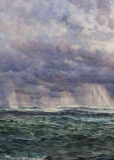 A North-West Gale of the Longships Lighthouse (Detail) - John Brett, 1873 British Oil on canvas, 105 x cm. Dante Gabriel Rossetti, John Everett Millais, Landscape Art, Landscape Paintings, Landscapes, Morris, Pre Raphaelite, Sky Art, Italian Art