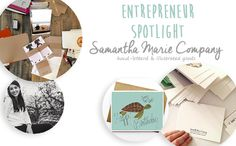 Meet Samantha Marie Company, a hand illustrated goods company on Etsy. Click for my behind-the-scenes interview and a 16% OFF PROMO CODE!   #Etsy #greetingcards #gifts #smallbusiness #entrepreneur #handlettering #handillustrated #turtles #sp