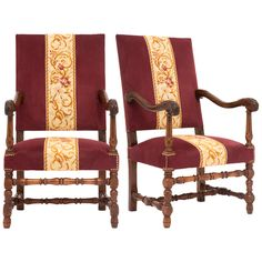 French Louis XIII Carved Walnut Armchairs