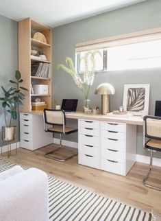 Guest Bedroom Home Office, Bedroom Office Combo, Spare Room Office, Home Office Space, Home Office Decor, Office Ideas, Ikea Office, Office Setup, Bedroom Workspace