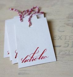 Pretty calligraphy tags from Crowne