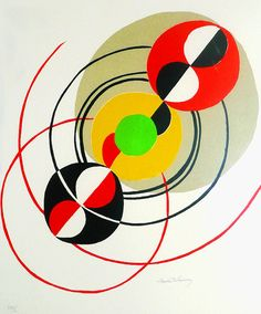 """Colour Litho by Sonia Delaunay, 1979, 'Disques'. """"Orphism"""" art-philosophy."""