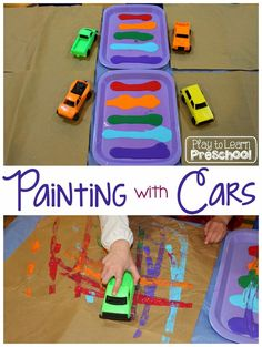 Painting with Cars. Simple prep art project for toddlers.
