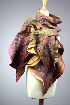 Felted scarf ,  Merino wool ,  silk,  felt scarf, felting , handdyed wool, nuno scarf