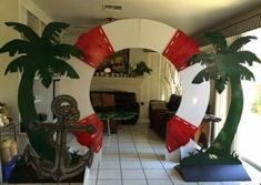 Magalie Sarnataro's props Bon voyage photo booth Palm tree , nautical miscellaneous cutouts made out of foam core then painted Cruise Theme Parties, Cruise Ship Party, Vbs Themes, Beach Themes, Party Themes, Deco Pirate, Boat Theme, Decoration Vitrine, Nautical Party