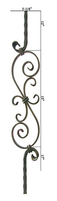 2.9.8 Series 15 9/16 Inch x 5 1/4 Inch S Scroll Iron Baluster