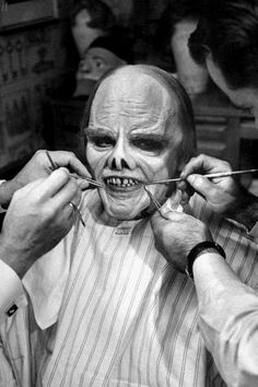 """James Cagney being made up for """"Man of a Thousand Faces"""" (1957)."""