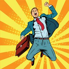 Businessman the winner pop art retro vector illustration. Successful businessman jumping for joy. Joyful man with briefcase of money and documents. Arte Pop, Retro Vector, Vector Art, Man Vector, Crea Design, Desenho Pop Art, Man Illustration, Modern Business Cards, Comic Styles