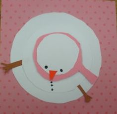 Snowman - top view- color edges with blue chalk, smudge, then glue on pretty scrap book paper - use gems or buttons for buttons