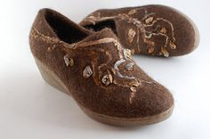 Felted wool shoes ooak   felted clogs size EUR 39 / US 85 by Rasae, $150.00