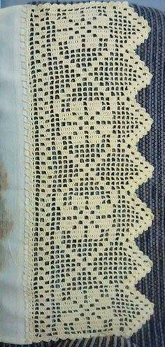 Crochet Edging Patterns, Crochet Lace Edging, Crochet Borders, Crochet Diagram, Crochet Trim, Crochet Flowers, Crochet Purses, Crochet Dolls, Button Hole Stitch