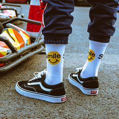 Buy Cotton Letter Harajuku Hip Hop Casual Sox Long Skateboard Socks Men's Street Boat Sock for Male Low Cotton Socks Art Male Sox Vans Sneakers, Sneakers Mode, Sneaker Trend, Puma Sneaker, Sneaker Outfits, Sport Style, Vans Style, Long Socks Outfit, Estilo Vans