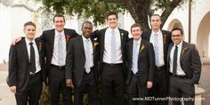 Groomsmen with blue striped ties - Houston wedding photography - MD Turner Photography
