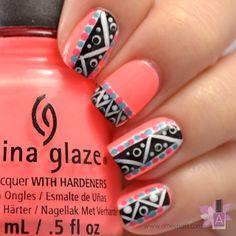 Aztec nails. Peach, China Glaze. Nail Art. Nail Design. Polishes. Polish. Polished.
