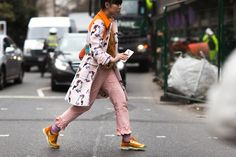 London Fashion Week street style—statement coat and ruffled pants to the rescue