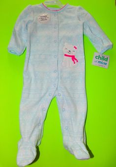 e1a0b245e0 Child Of Mine Carter s Blue White Polar Bear Fleece Footed Sleeper Size 3-6M
