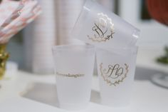 a fun alternative to glassware | plastic monogrammed cups | White Dress Events