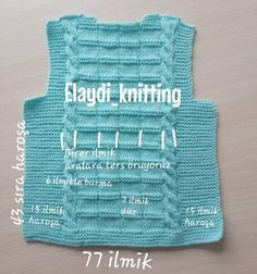 How to knit a knit baby boy vest? If you want to make a baby vest with skewers, we have shared the n Baby Knitting Patterns, Knitting Stiches, Baby Dress Patterns, Knitting For Kids, Crochet For Kids, Crochet Baby, Baby Boy Vest, Baby Coat, Pull Bebe