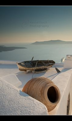 Greece - Boat on the Roof, Santorini by Hasselbach Photography, via Flickr - staring at the mesmerizing blue sea #ridecolorfully w/ #katespadeny & #vespa