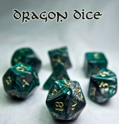 Be a RPG hero with Dragon Bones (Green). This limited edition RPG dice set has all the classic polyhedral shapes you know and love: d4, d6, d8, d10, d%, d12, and d20. Comes with its very own collector