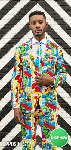Superhero carnival party costume for men with the suit from OppoSuits. Diy Carnival, Carnival Themed Party, Carnival Costumes, Homecoming Suits For Guys, Diy Party Costumes, Prom Suit And Dress, Superhero Suits, Comic Costume, Mardi Gras Outfits