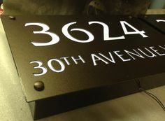 For over 18 years Address Signage Company has been serving Canada & the USA with custom residential & commercial address signage. We are your one stop shop for address signs, plaques, custom number signs & much more! Company Signage, Reception Desk Design, Illuminated Signs, Signages, House Numbers, Vancouver, Facade, Designer, Commercial