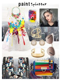 """#paintsplatter"" by swaggchic on Polyvore featuring Casetify, Lust For Life, Tiffany & Co., Kate Spade, Sydney Evan, Salvatore Ferragamo, Gucci and paintsplatter"