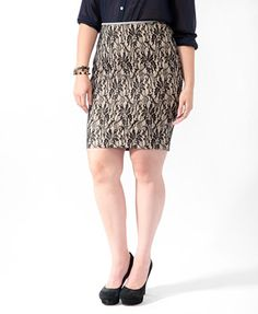Lace Contrast Waist Skirt | FOREVER21 PLUS - 2011226682