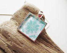 Mint damask necklace. Mint green necklace. by LittleBearsMom