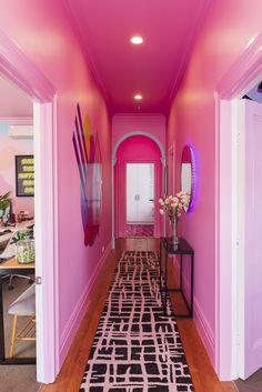 Pink Hallway, Bright Hallway, Dream Apartment, Deco Design, Pink Design, Aesthetic Rooms, Pink Walls, Hallway Decorating, New Room