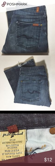 "7 FOR ALL MANKIND FLARE BROADWAY STRETCH JEANS Good used condition. Price reflects. Inseam is 33"". Rise is 8"". Wear on bottoms, see pic. 7 For All Mankind Jeans Flare & Wide Leg"