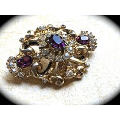 Signed Coro Brooch-Vintage Rhinestone Brooch 1950s Mid Century... ($42) via Polyvore featuring jewelry and brooches